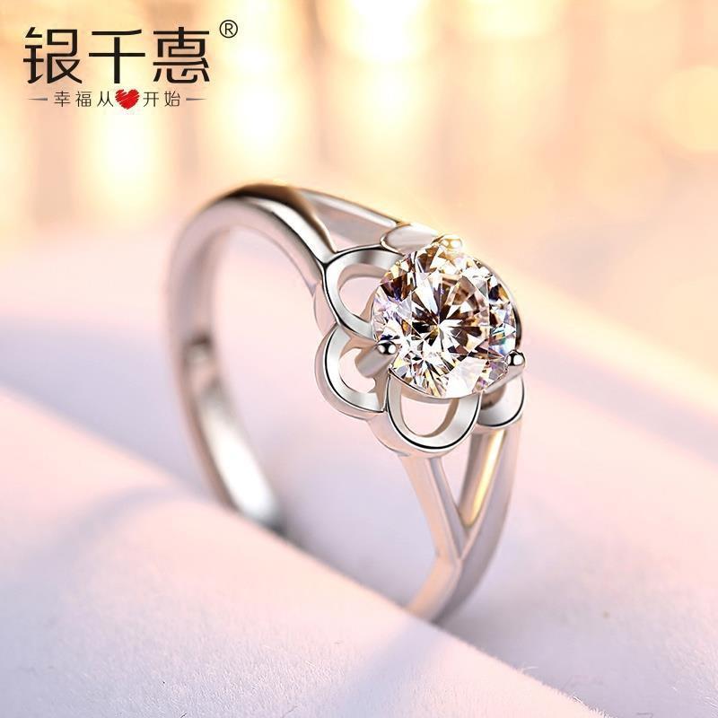 純銀戒指女士時尚個性日式輕奢網紅小眾設計花食指可調節簡約戒子