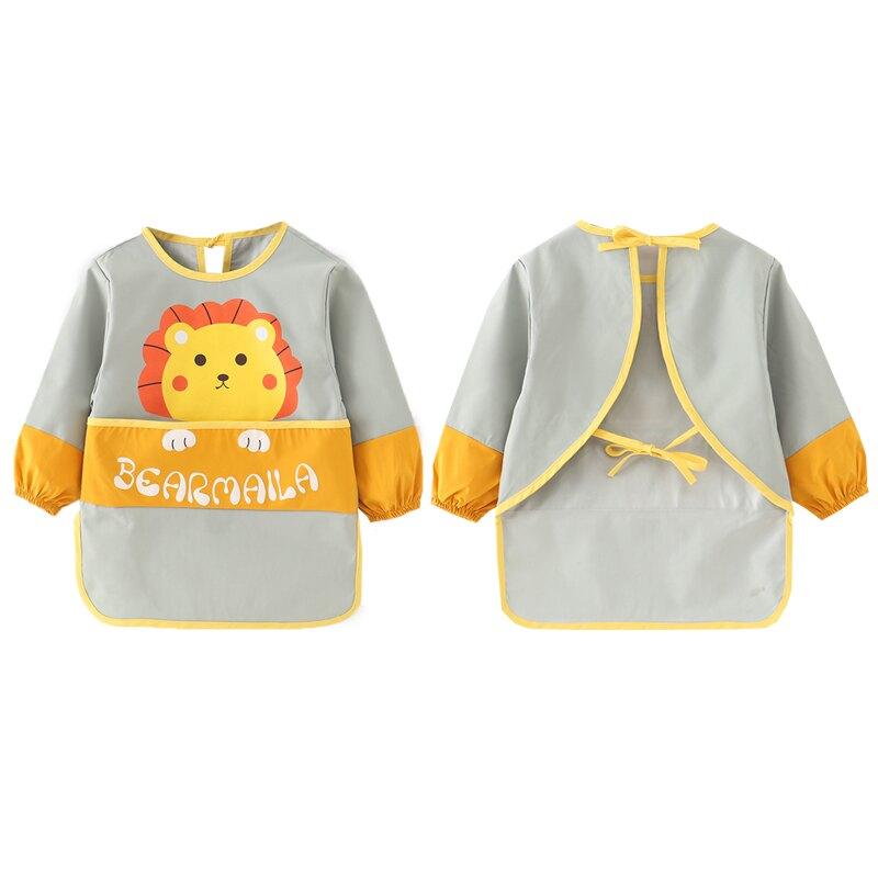 兒童圍裙畫畫衣服防水美術吃飯罩衣防臟幼兒園繪畫寶寶圍兜反穿衣