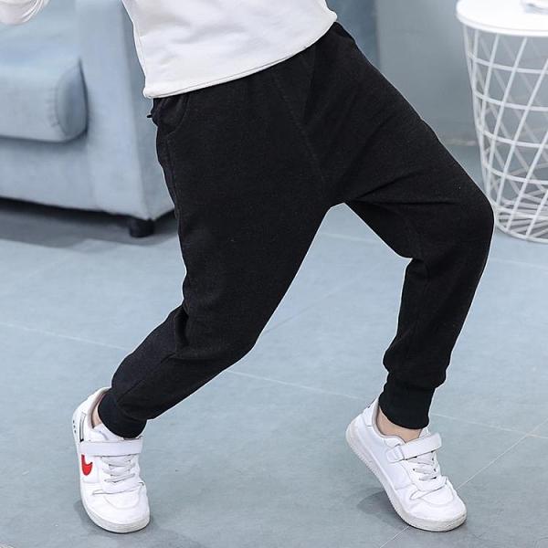 男童褲子 男童褲子兒童運動褲加絨加厚純色長褲女童2021春秋款統一黑色純棉 歐歐