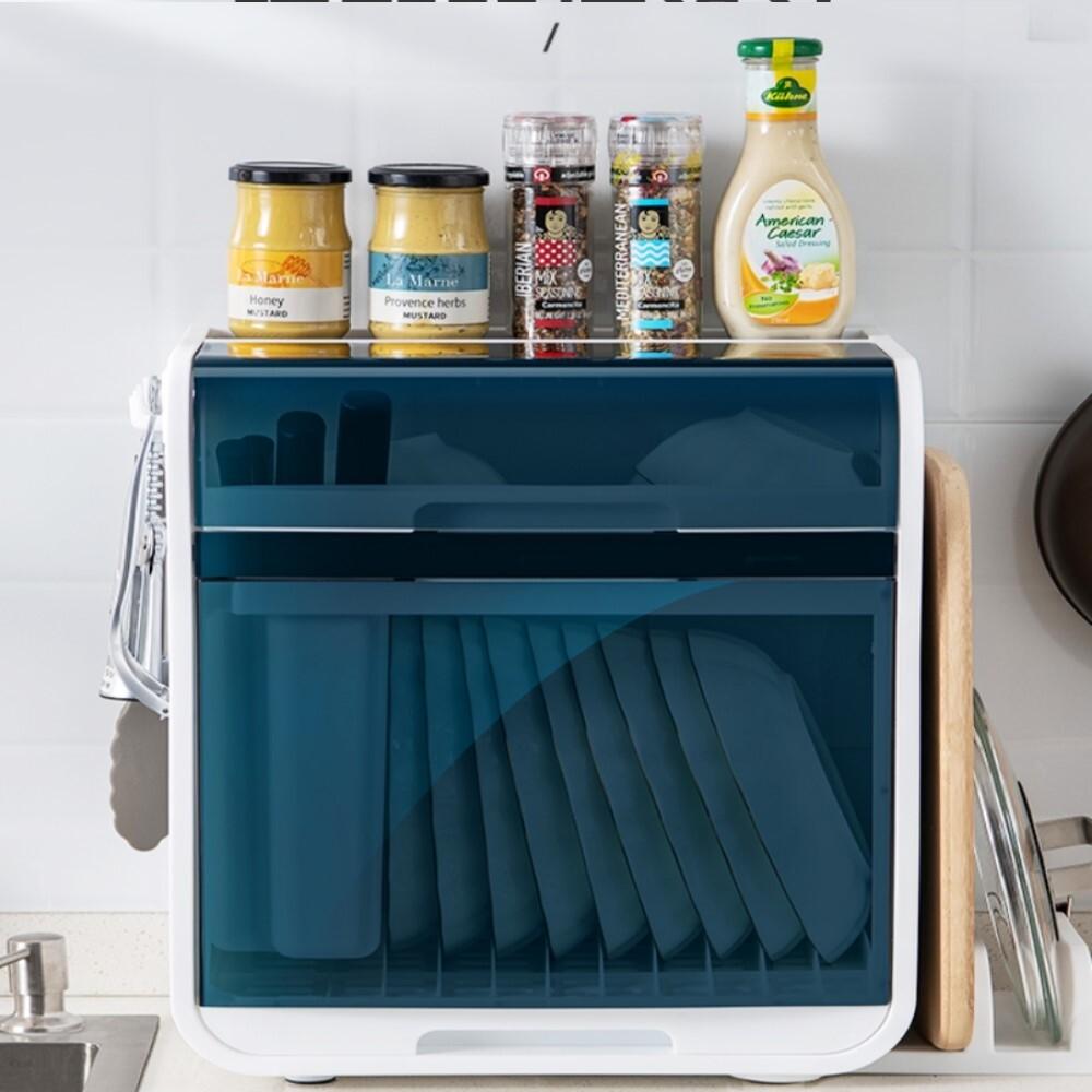 aotto日系大容量碗盤瀝水架碗櫃(碗盤收納架置物架收納箱)