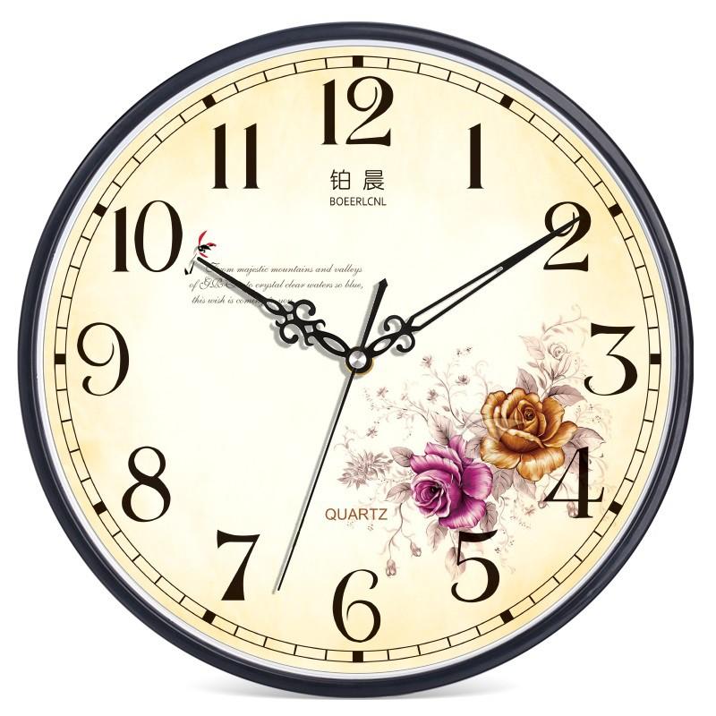 掛鐘 鉑晨歐式靜音掛鐘客廳臥室辦公時鐘簡約時尚掛表現代創意石英鐘表
