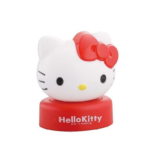 小禮堂 Hello Kitty 造型塑膠小夜燈 床頭燈 擺飾燈 夜光燈 (紅白 大臉) 4972940-73235