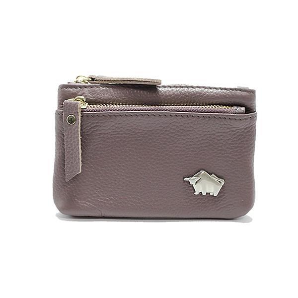 【南紡購物中心】DRAKA 達卡 - 真皮W系列-雙拉卡片零錢包-藕紫