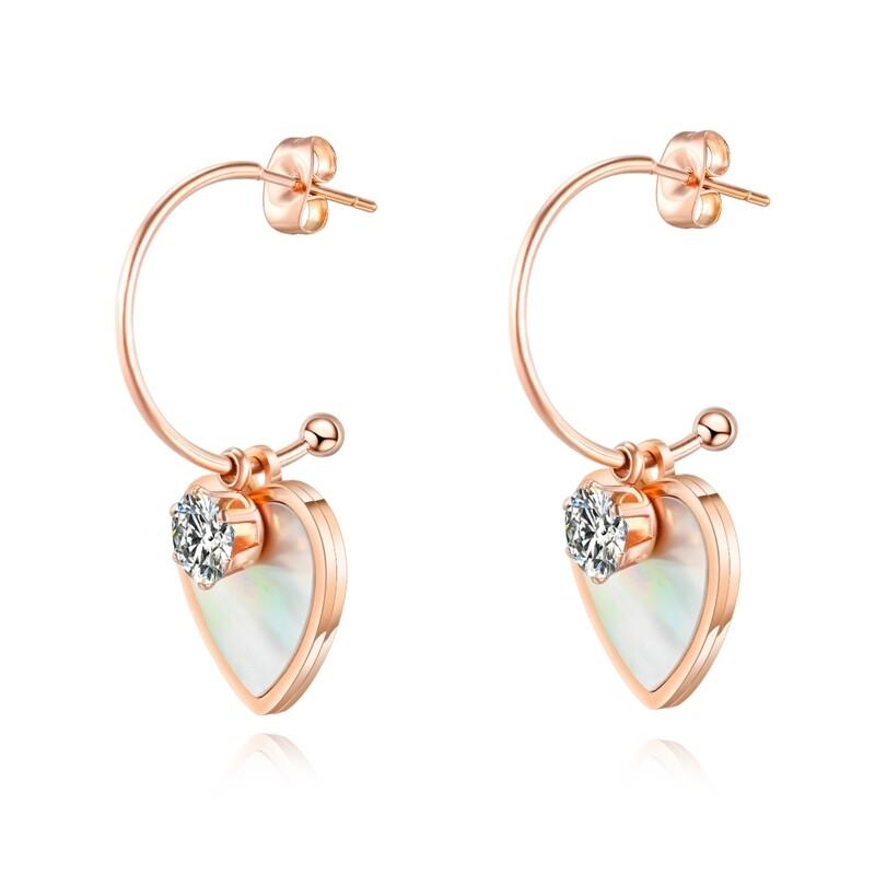 316l醫療鋼 愛心心型 海貝殼白水晶 耳環耳釘針-玫瑰金 防抗過敏