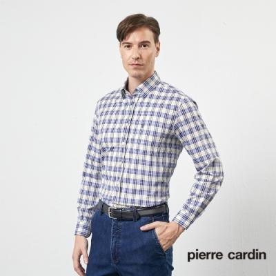 Pierre Cardin皮爾卡登 男裝 進口素材格紋長袖襯衫-黃色(5205105-55)