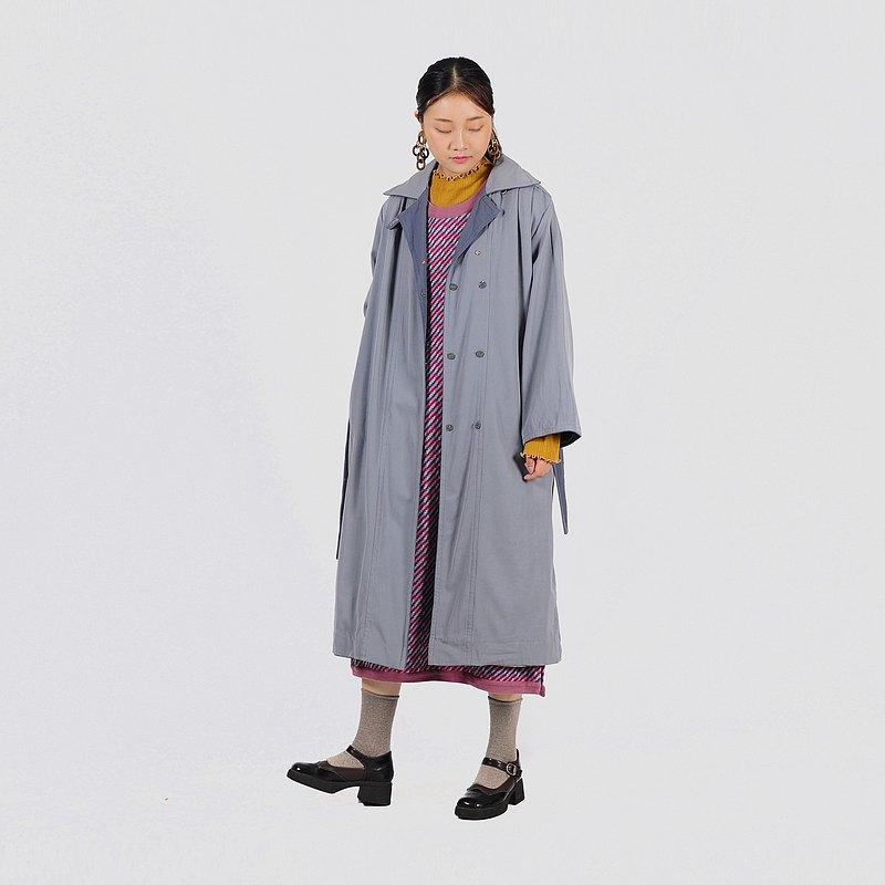 【蛋植物古著】氤氳雨季薄毛寬鬆古著風衣