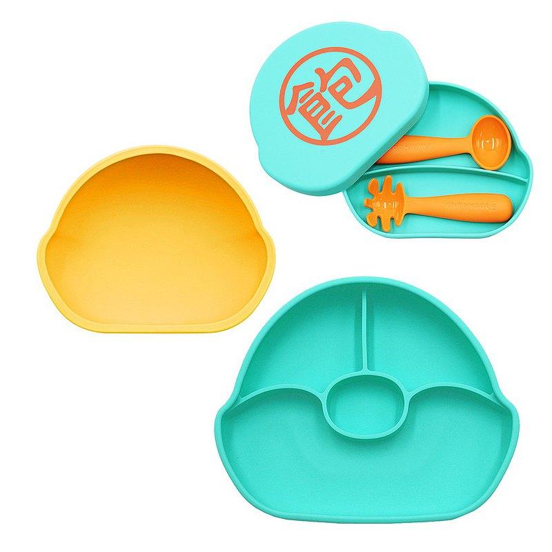 分格不翻盤(藍綠)+吸盤碗(黃)+矽膠盒(藍綠-飽)+學習餐具組(橘)