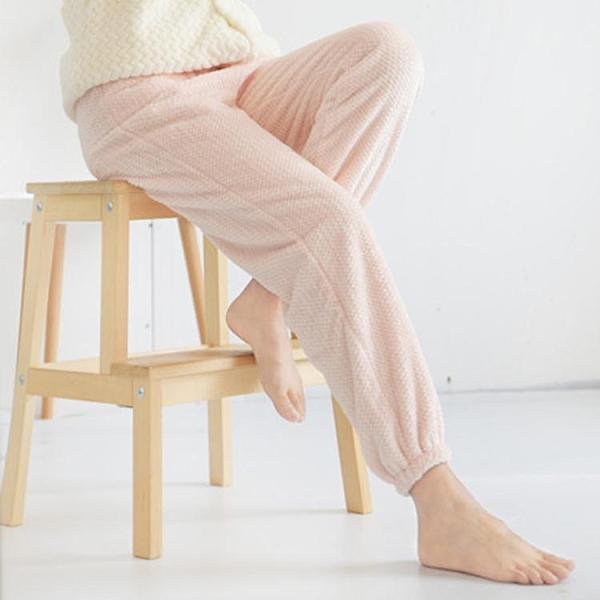 睡褲男女士秋冬天保暖法蘭絨收口長褲寬鬆大碼加絨珊瑚絨家居睡褲 小山好物