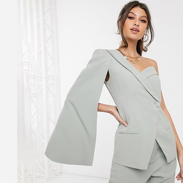 【南紡購物中心】《D Fina 時尚女裝》 俐落剪裁 單鈕釦單肩西裝外套