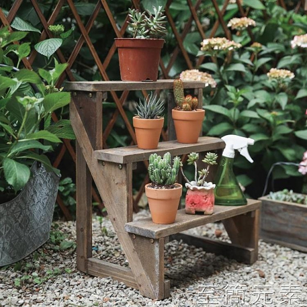 三層梯級小花架實木復古做舊陽台庭院花園盆栽置物架靠墻