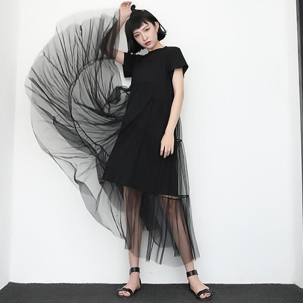 【南紡購物中心】《D Fina 時尚女裝》 網紗拼接 假兩件式T-SHIRT連身洋裝