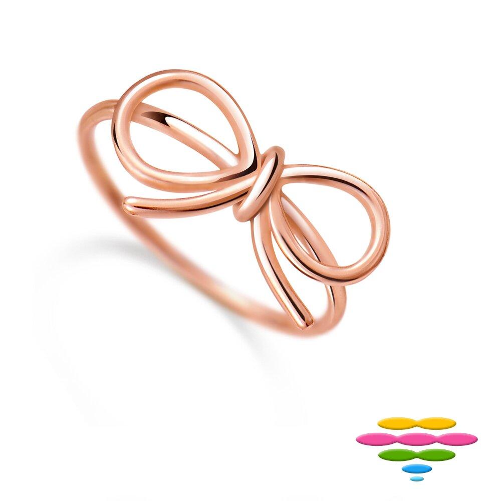 Caramelo 彩糖鑽工坊  蝴蝶結玫瑰金戒 925純銀鍍玫瑰金 Doris 桃樂絲 系列