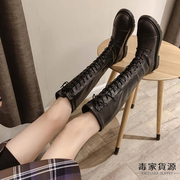 長靴女過膝小個子秋冬百搭顯瘦騎士高筒馬丁靴中筒加絨【毒家貨源】