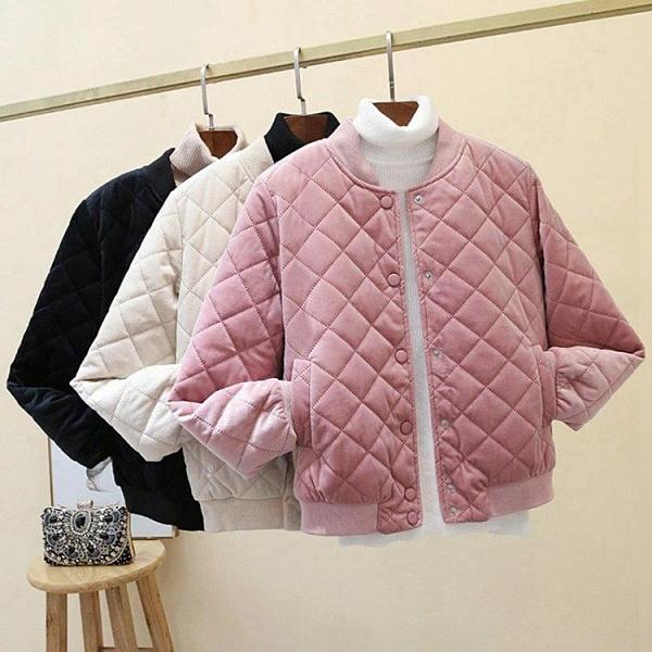羽絨外套 冬季新款外套女士學生韓版棒球羽絨棉服短款輕薄金絲絨小棉襖潮 - 古梵希