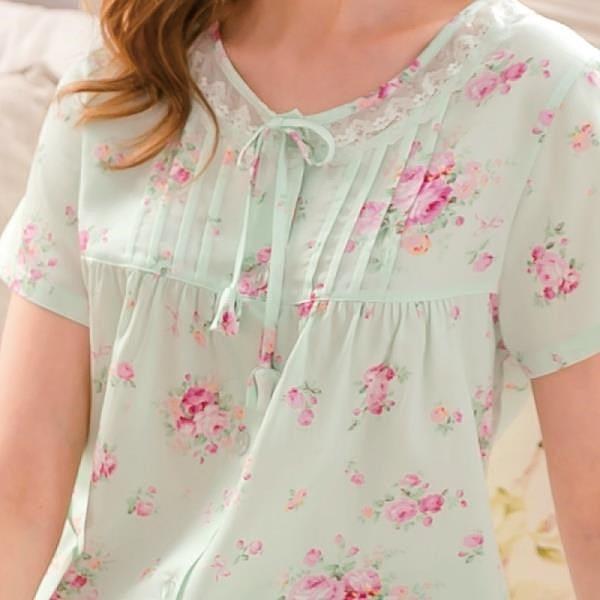 【南紡購物中心】ROSEMAID羅絲美 凡爾賽玫瑰系列短袖衣褲綠色19149
