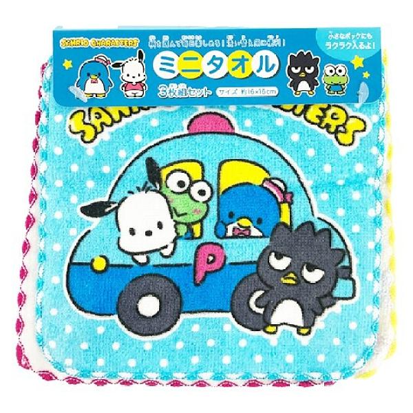 小禮堂 Sanrio大集合 純棉割絨方巾組 手帕 小毛巾 16x16cm (3入 藍 車車) 4975953-85293