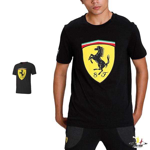 Puma Ferrari 男 黑 短袖 上衣 法拉利 棉T 短T 運動 休閒 F1賽車 圓領上衣 59795602