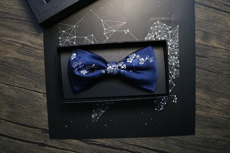 蓝色真丝花卉领结/典雅型男婚礼蝴蝶结