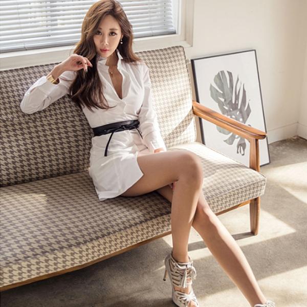 襯衫洋裝 韓版立領長袖襯衫氣質 修身白色襯衣連身裙中長款女裝 店慶降價