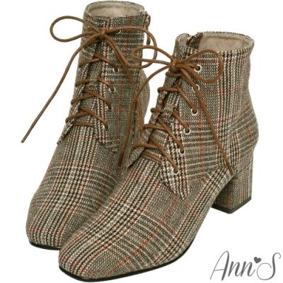 Ann'S質感英倫-防水機能格紋布綁帶方頭粗跟短靴-咖紅