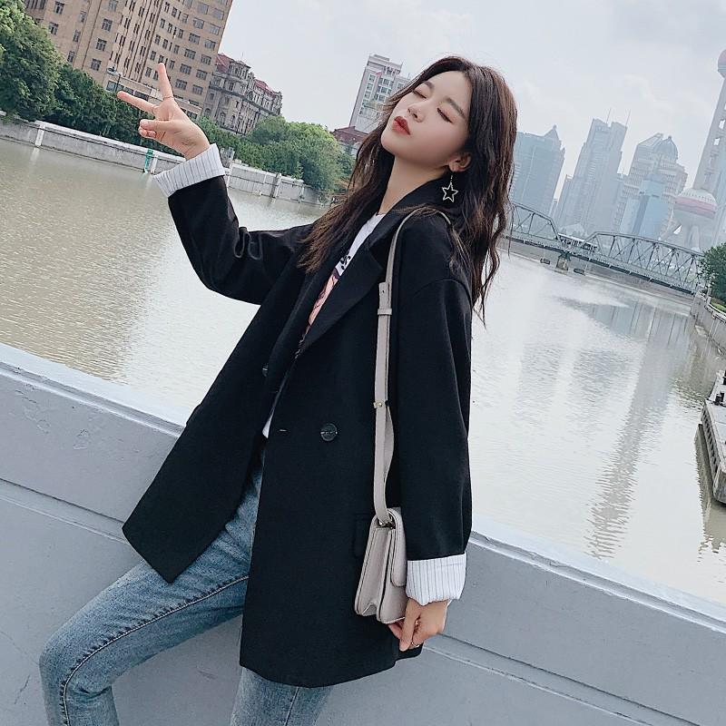 韓版2019女士新款西裝外套女秋冬黑色英倫風小西服套裝網紅上衣潮