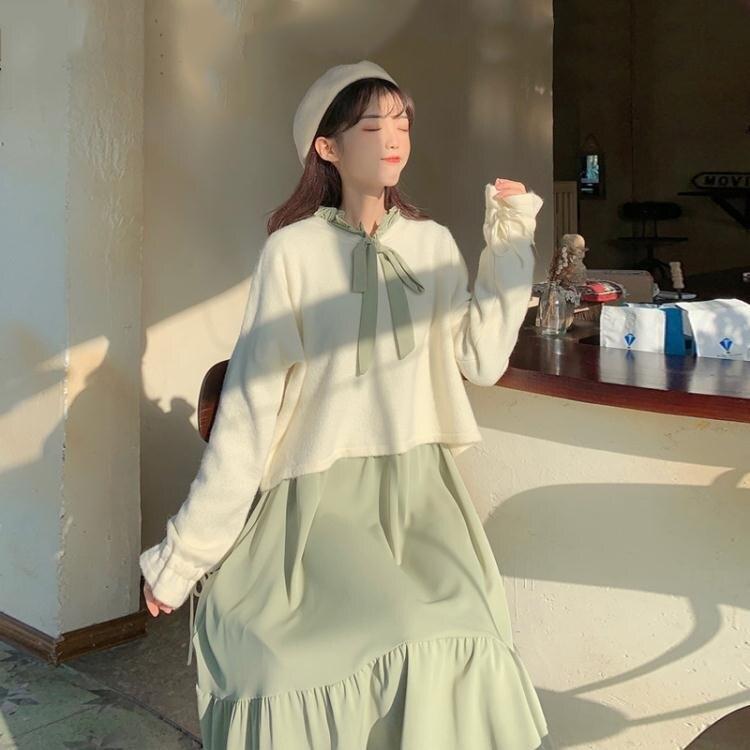 【快出】可鹽可甜洋裝女秋季2020年新款秋款收腰顯瘦森系中長款長袖裙子