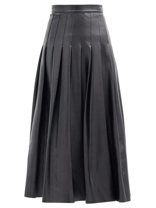 Emilia Wickstead - Gretchen Pleated Faux-leather Midi Skirt - Womens - Black