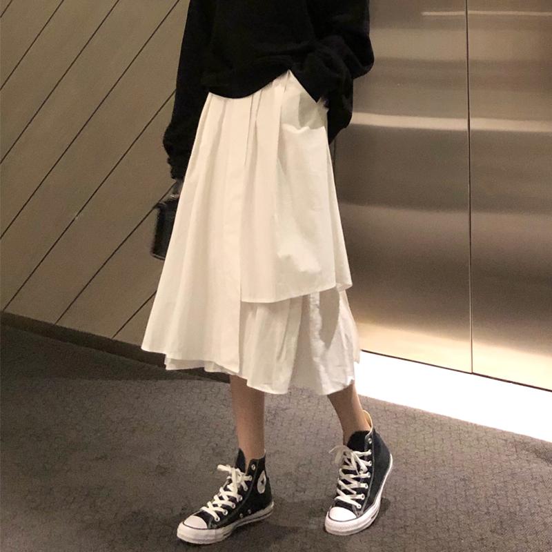 A字半身裙 1736373港味百搭鬆緊高腰中長款不規則素色半身裙學生裙