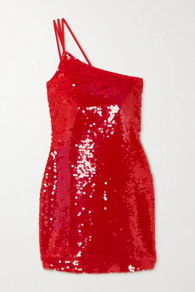 De La Vali - 单肩亮片绉纱迷你连衣裙 - 红色 - UK10