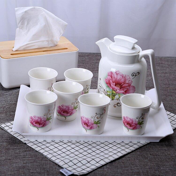 火列鳥陶瓷冷水壺水杯杯具套裝創意涼水壺家用耐高溫瓷冷涼水瓶wy