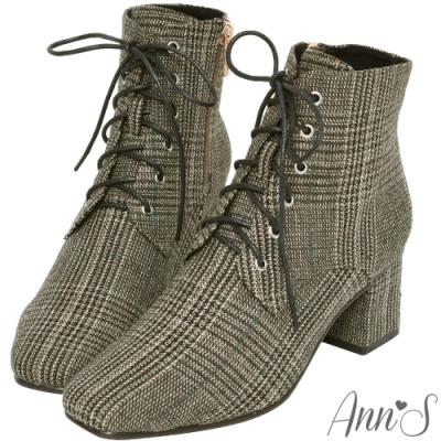 Ann'S質感英倫-防水機能格紋布綁帶方頭粗跟短靴-黑綠