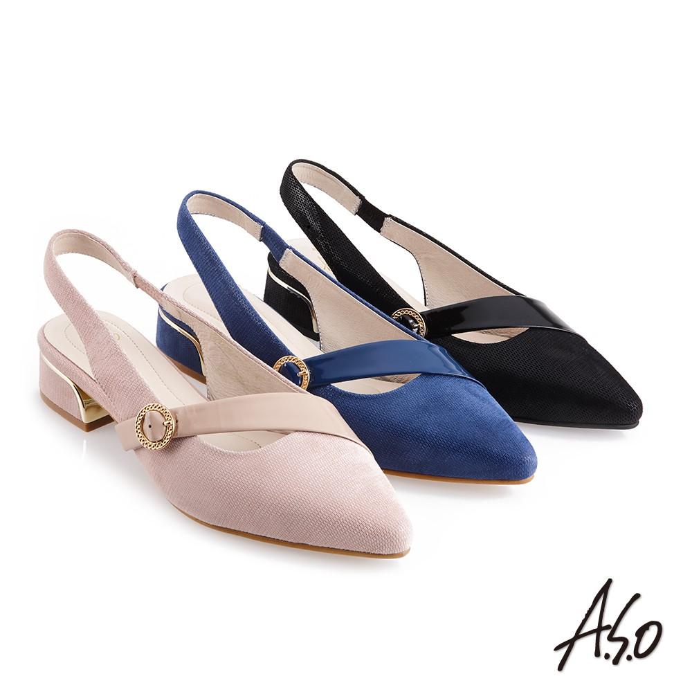【A.S.O阿瘦】時尚流行 健步美型時髦金屬粗跟穆勒鞋-藍/黑