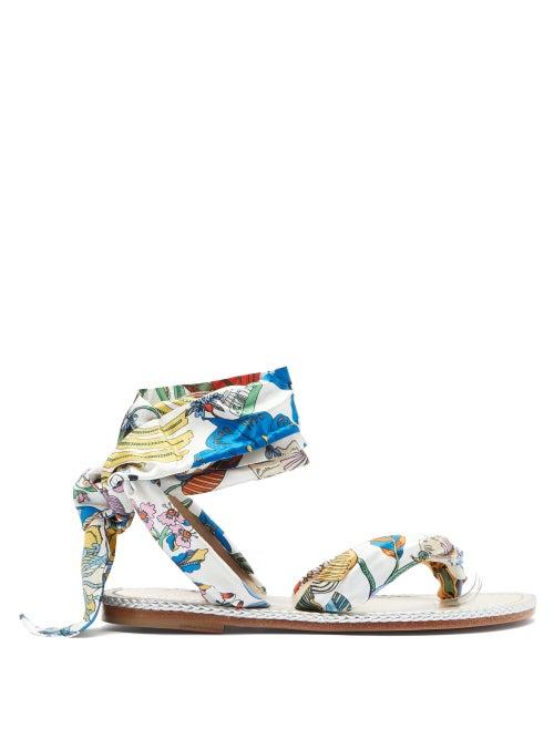 Christian Louboutin - Spetsos Botanical-print Satin Sandals - Womens - White Multi