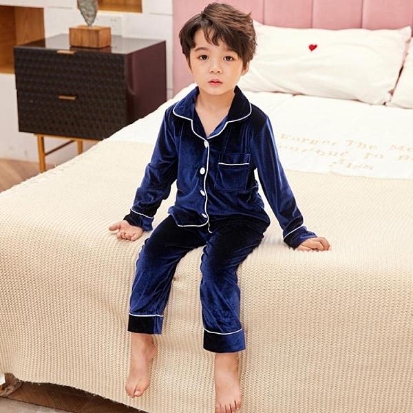 金絲絨男童睡衣冬季加厚加絨保暖寶寶男孩法蘭絨家居服套裝中大童 小山好物