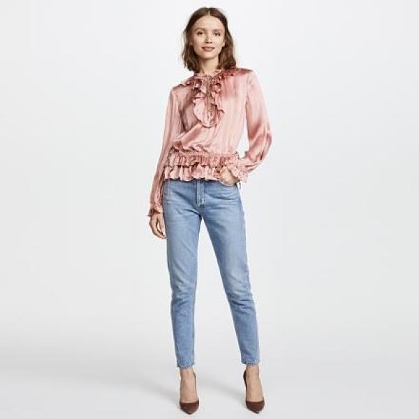 【南紡購物中心】《D Fina 時尚女裝》伸縮腰圍 休閒荷葉邊OL襯式上衣