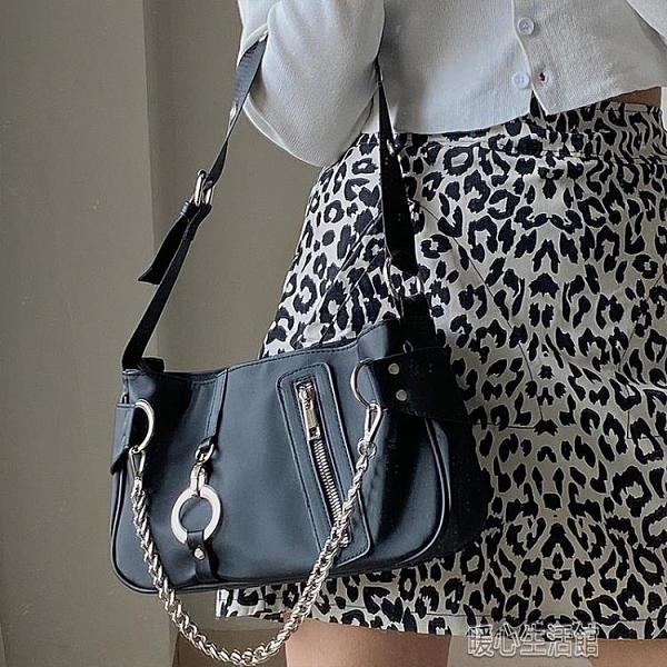 手提包鹿子 設計腋下包新款歐美潮流尼龍布鏈條手提女包法棍包 快速出貨
