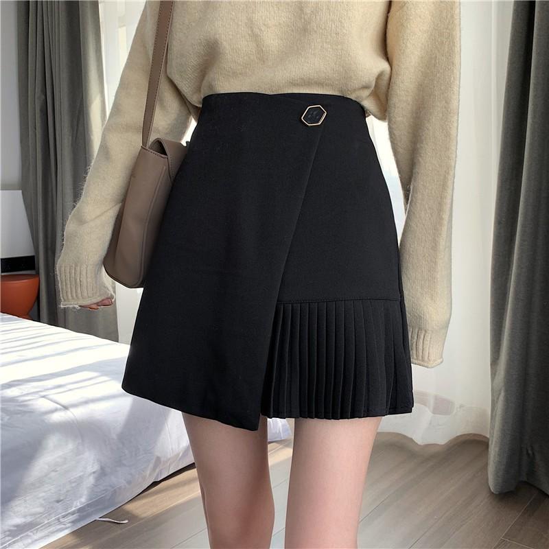 毛呢半身裙女韓版高腰A字裙規則短裙 有內襯