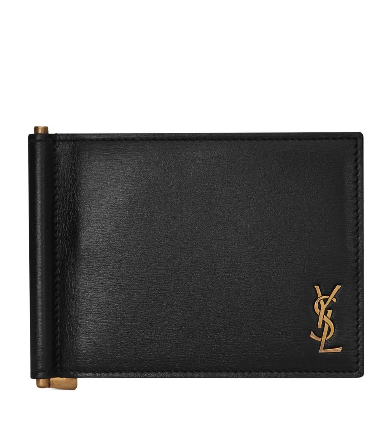 Saint Laurent Leather Monogram Bifold Money Clip Wallet