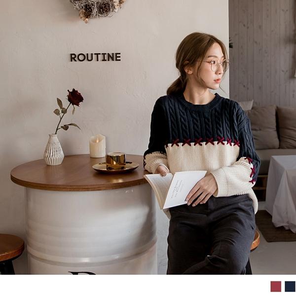 《FA2142-》立體織紋拼接造型長袖針織上衣(2色) OB嚴選