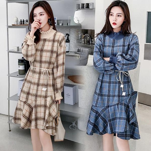 第二件4折 韓國風名媛格紋拼接荷葉邊下擺優雅長袖洋裝