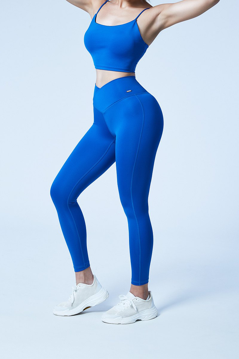 【XOFFIT】女力不懈交叉瑜珈健身運動褲-寶石藍