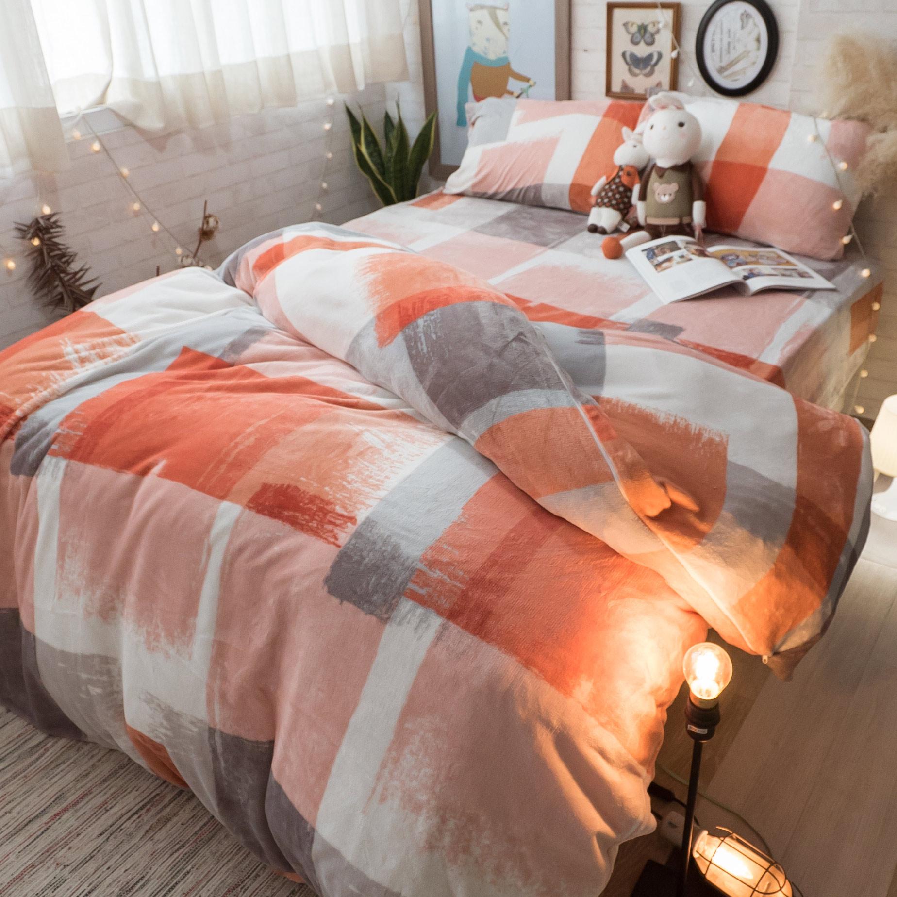 迷霧霓虹 法蘭絨床包兩用毯組(文藝系) 雙人/加大可選 溫暖舒適 【棉床本舖】