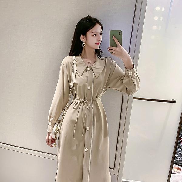 VK旗艦店 韓系名媛素色方領桔梗復古收腰顯瘦長袖洋裝