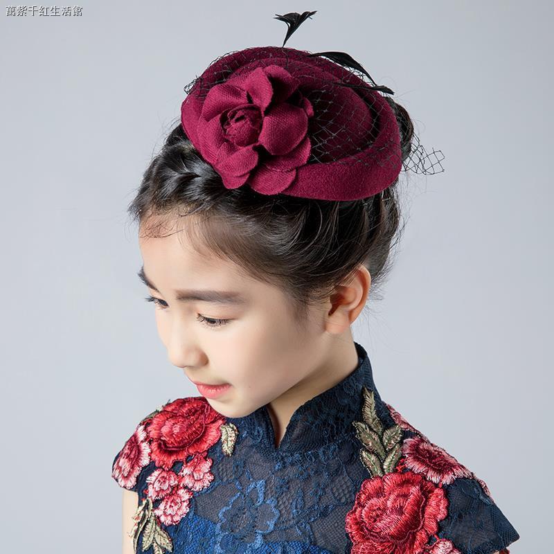童裝女童頭飾禮帽兒童演出帽子女孩走秀派對小禮帽公主復古晚禮服禮帽