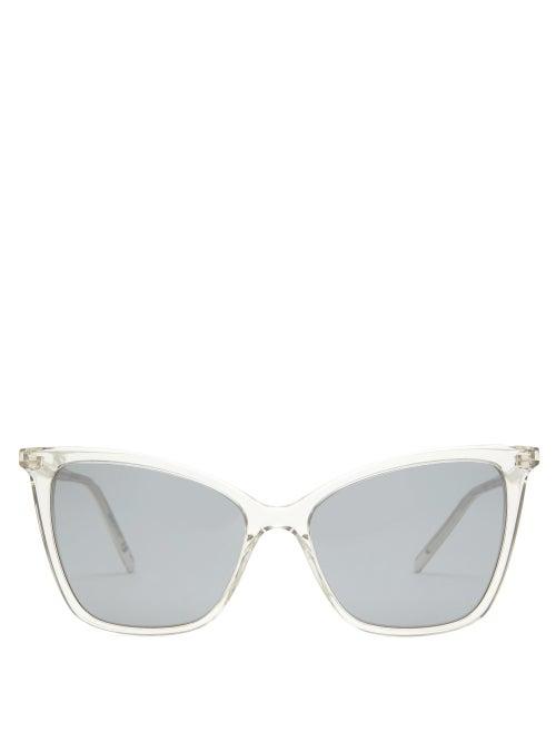 Saint Laurent - Cat-eye Acetate Sunglasses - Womens - Grey