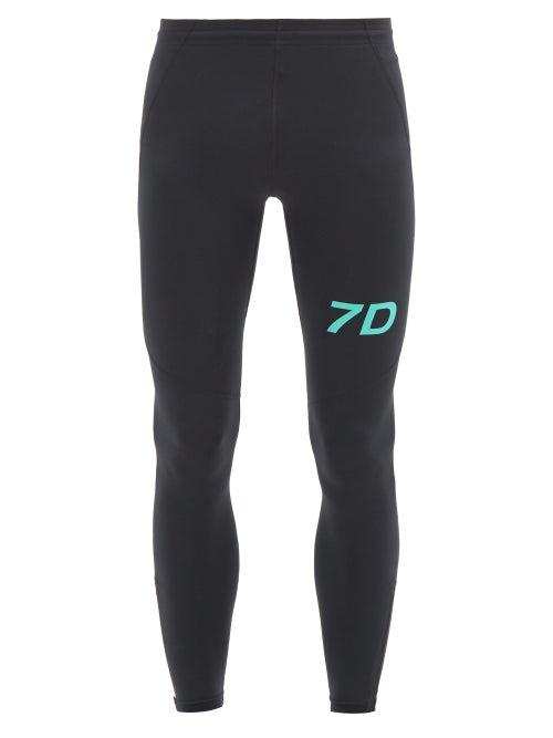 7 Days Active - Logo-print Jersey Performance Leggings - Mens - Black