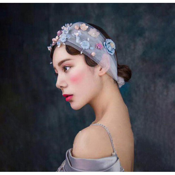 新娘手工水晶珍珠花朵白色面紗髮飾0467