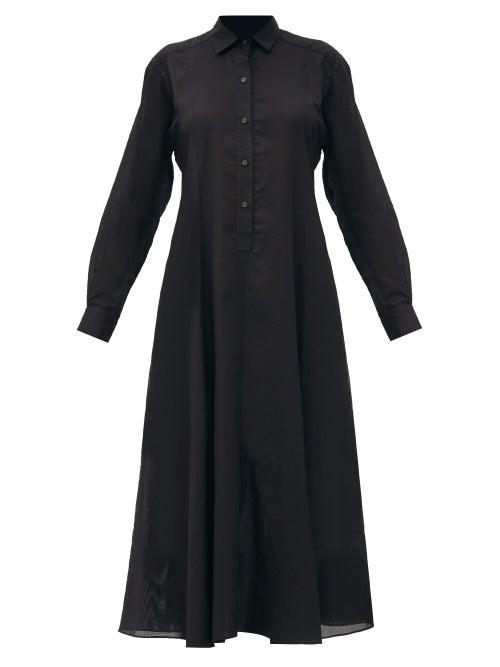 Three Graces London - Fallon Cotton-voile Shirt Dress - Womens - Black