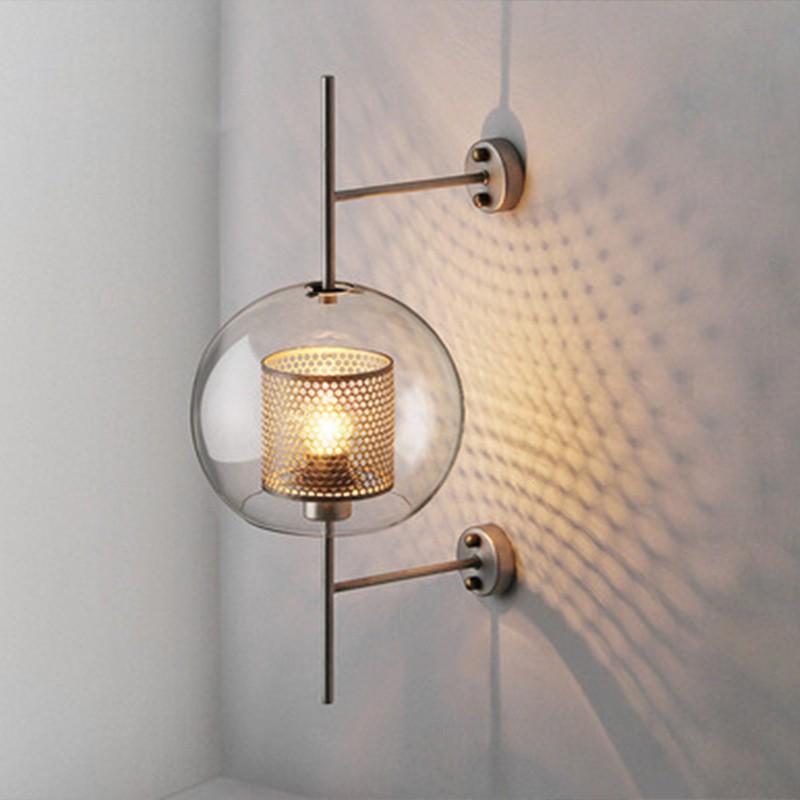 西西燈飾 新款北歐工業風床頭裝飾燈簡約創意個性臥室牆過道後現代田園玻璃壁燈110-220v
