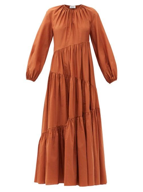 Matteau - The Asymmetric Tiered Cotton-blend Maxi Dress - Womens - Camel